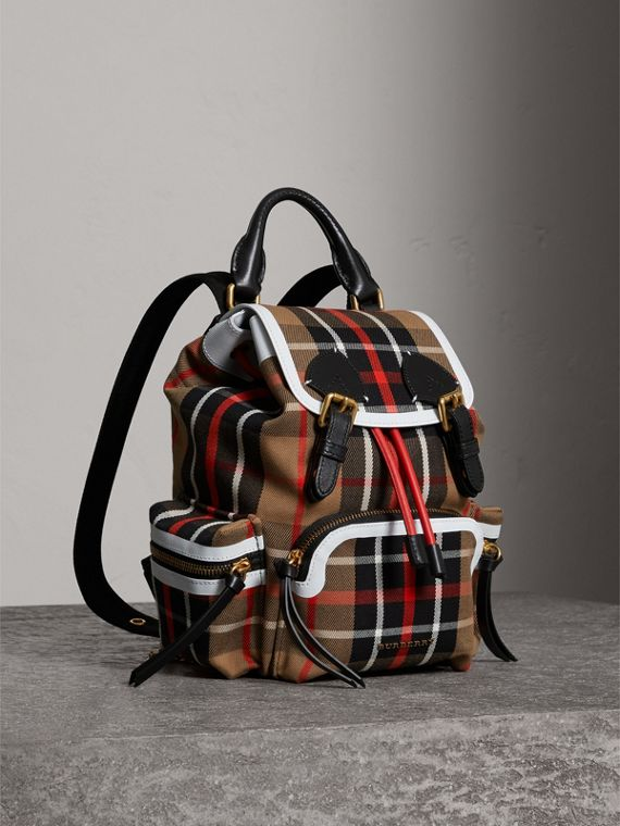The Small Rucksack in Check Cotton and Leather in Caramel