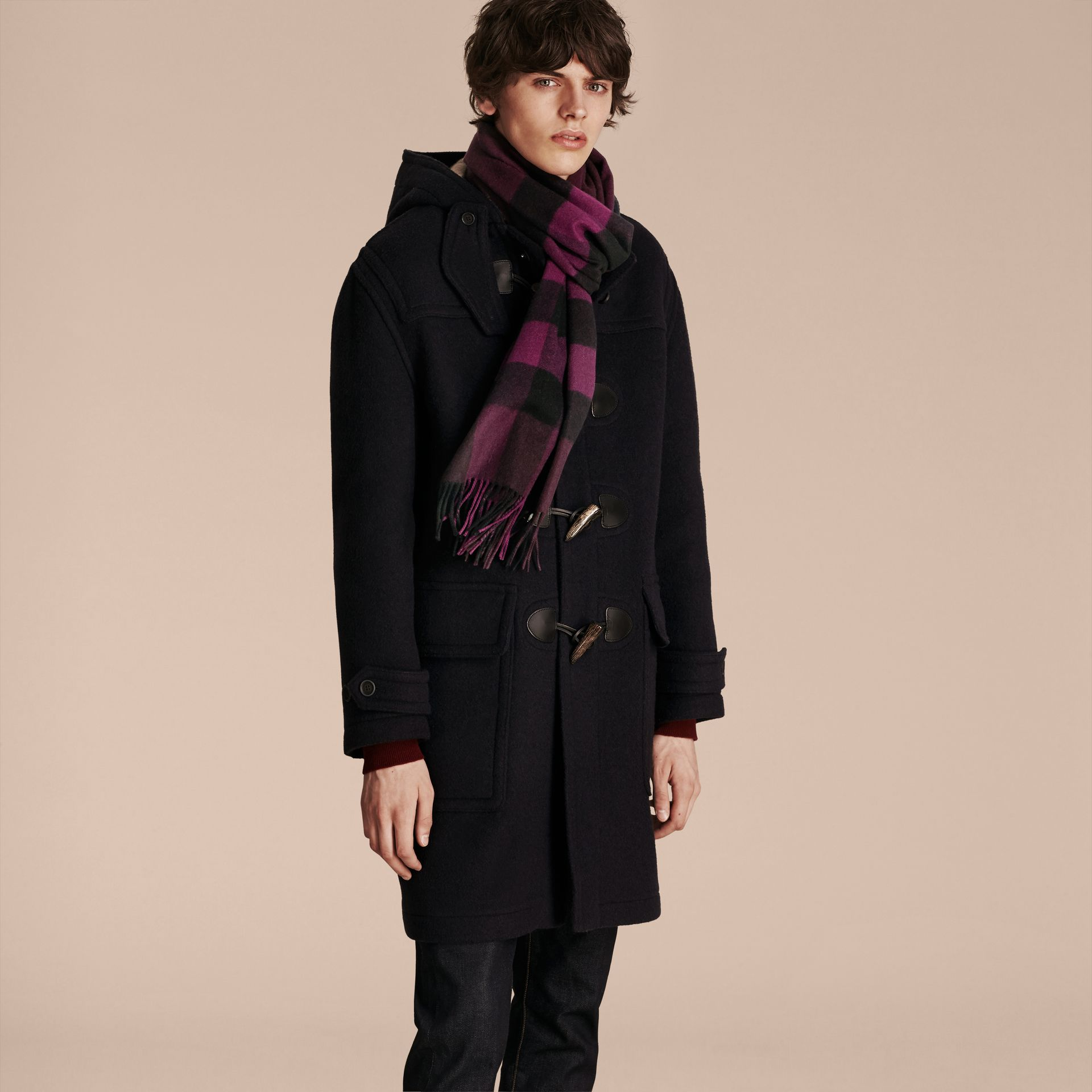 Aubergine The Large Classic Cashmere Scarf in Check Aubergine - gallery image 4