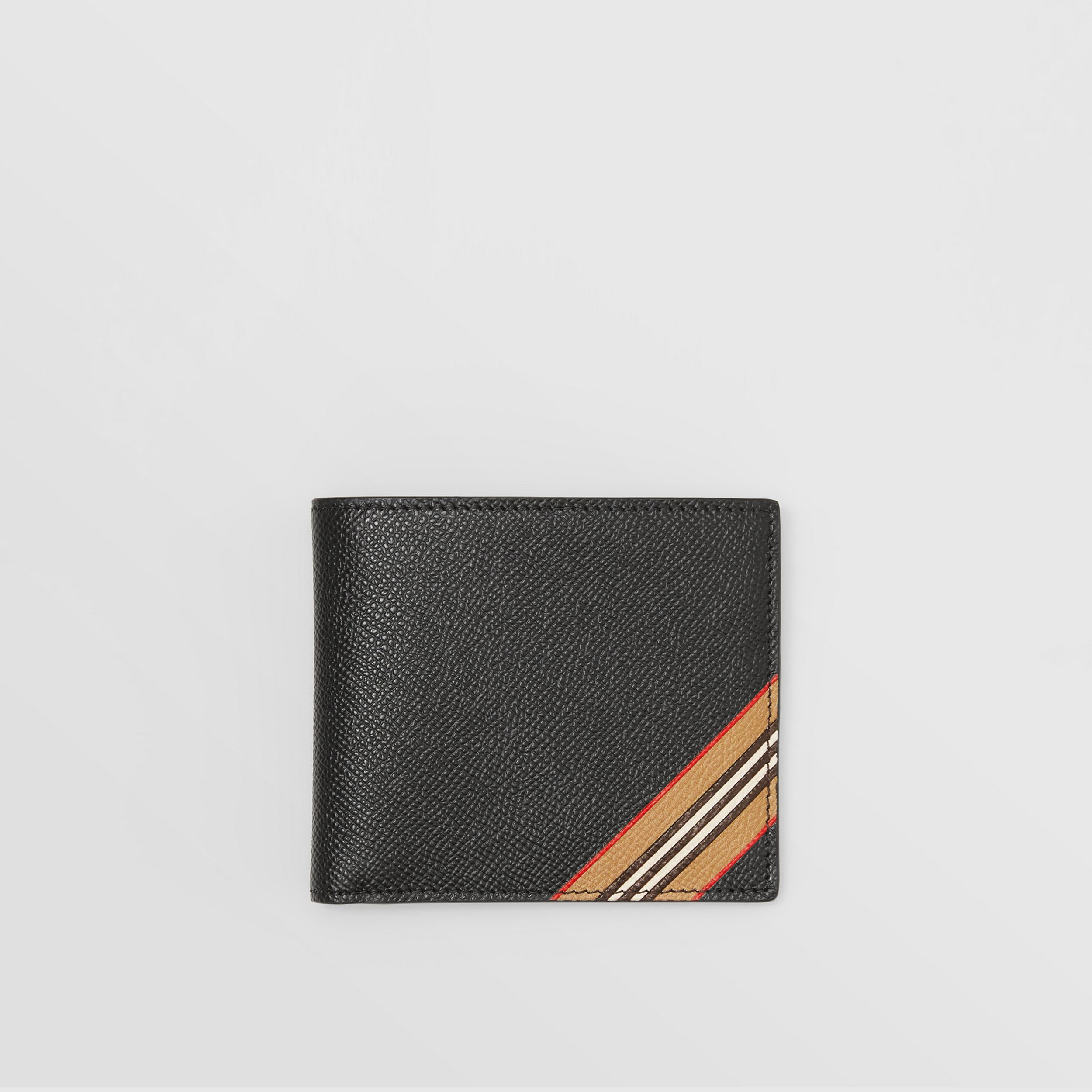 Icon Stripe Print Leather International Bifold Wallet in Black - Men | Burberry Canada - 1