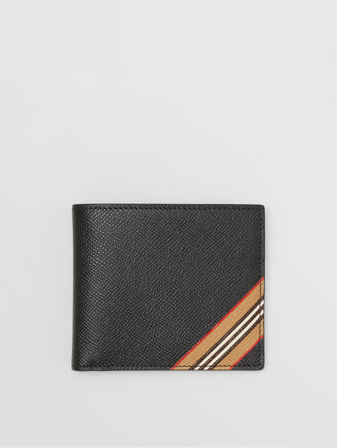 Icon Stripe Print Leather International Bifold Wallet in Black