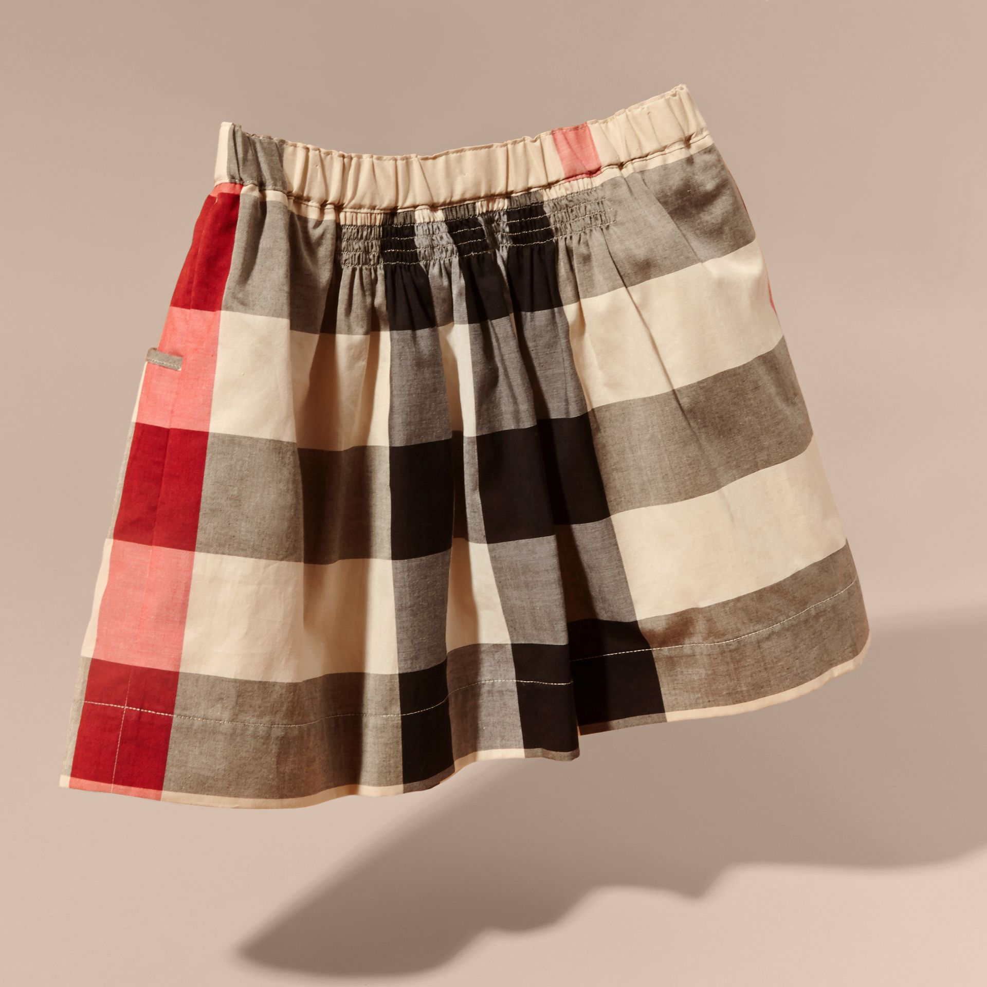 Check Cotton Ruched Skirt in New Classic - Girl | Burberry - gallery image 4