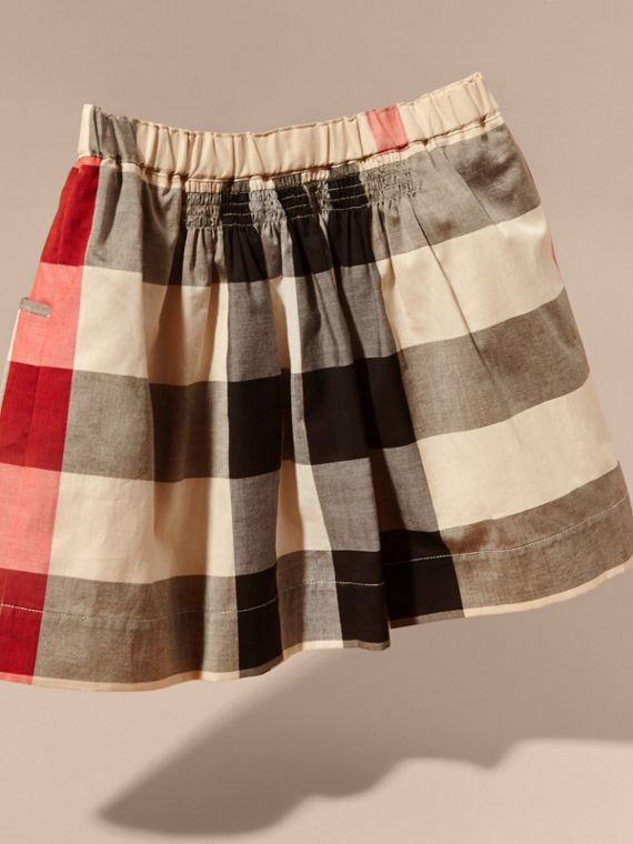 Check Cotton Ruched Skirt in New Classic - Girl | Burberry - cell image 3