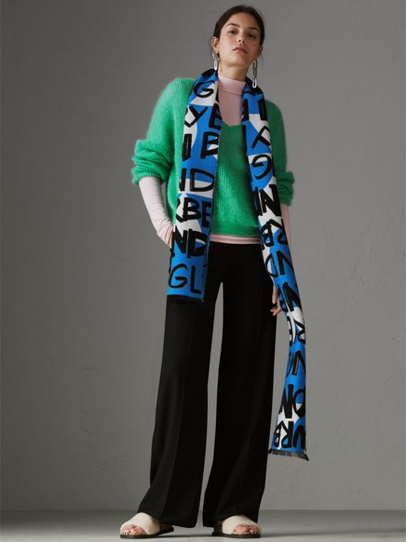 Graffiti Cotton Jacquard Scarf in Bright Sky Blue | Burberry - cell image 2