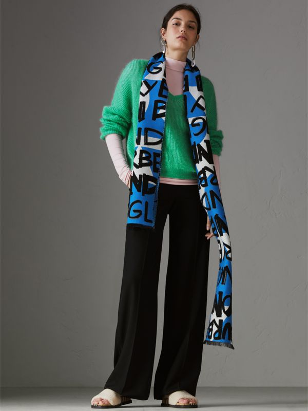 Graffiti Cotton Jacquard Scarf in Bright Sky Blue | Burberry United States - cell image 2
