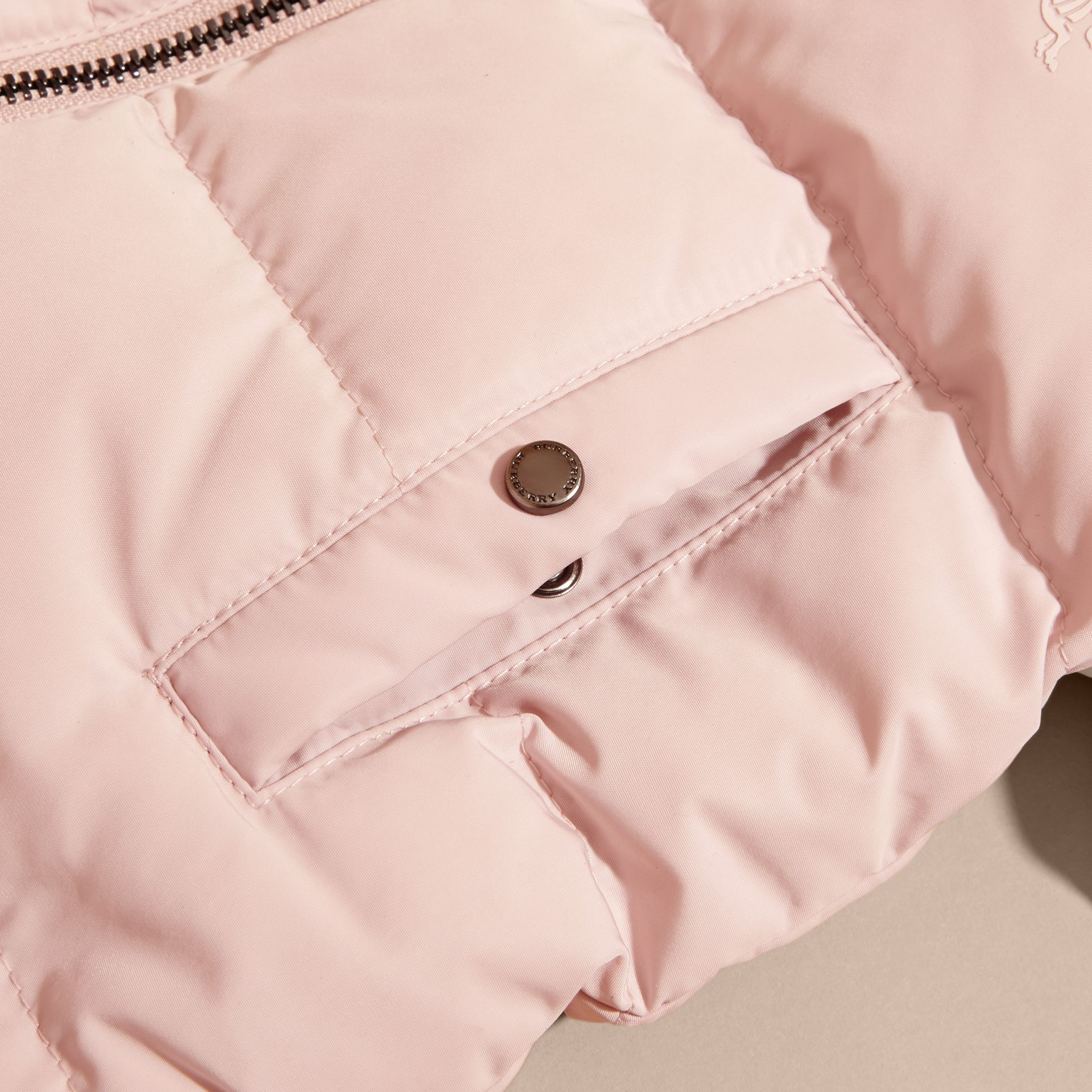 Hooded Down-filled Puffer Jacket with Mittens Powder Pink - gallery image 2
