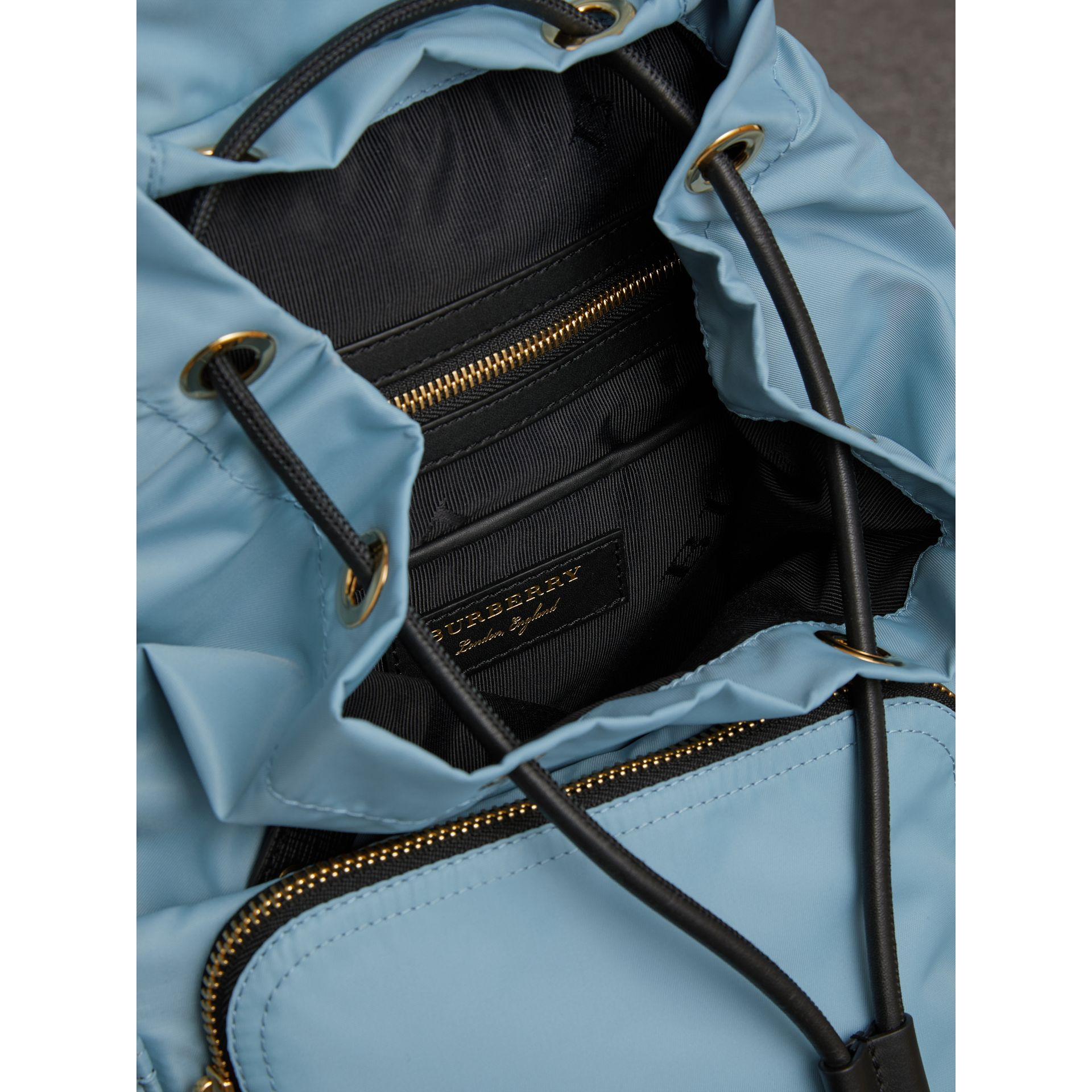 The Medium Rucksack in Technical Nylon and Leather in Pale Bluebell - Women | Burberry Singapore - gallery image 4