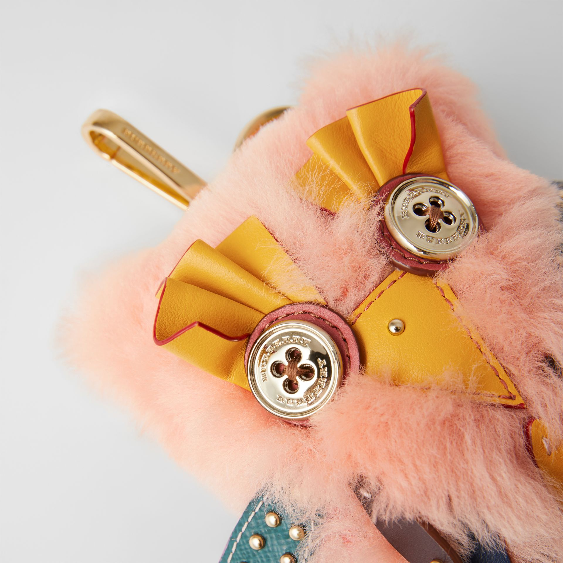 Mavis the Owl Shearling and Leather Charm in Antique Yellow | Burberry - gallery image 1