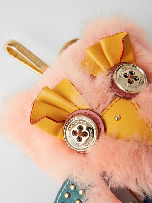 Mavis the Owl Shearling and Leather Charm in Antique Yellow | Burberry - cell image 1