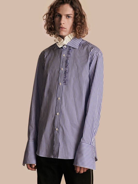 Ruffle Detail Double Cuff Striped Cotton Shirt