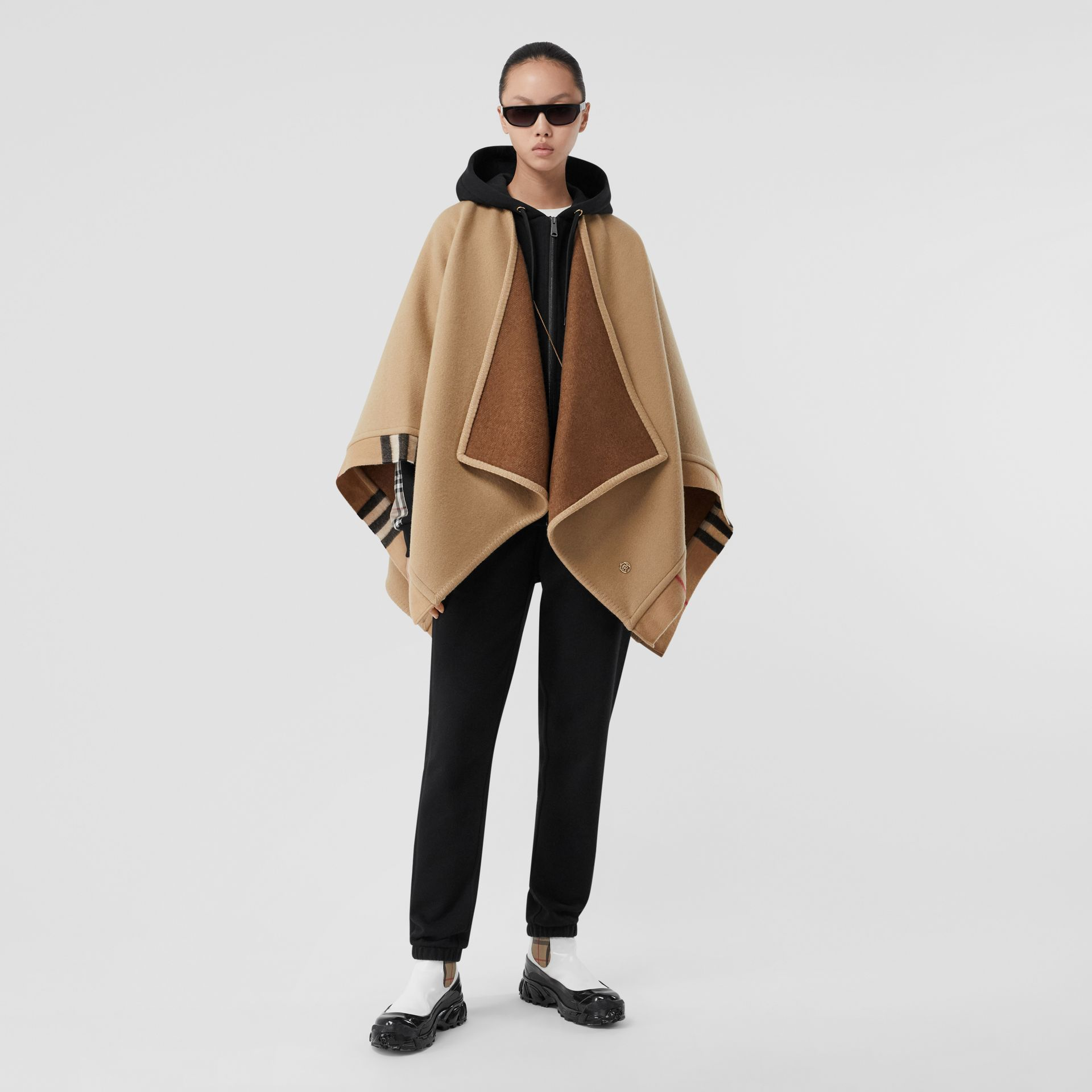 Check Trim Wool Cashmere Cape in Archive Beige - Women | Burberry - gallery image 5