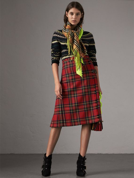 The Burberry Bandana in Vintage Check and Neon Cashmere in Bright Lemon | Burberry United Kingdom - cell image 3