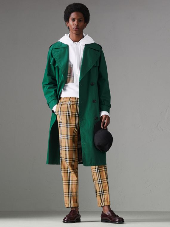 Vintage Check Cotton Trousers in Antique Yellow