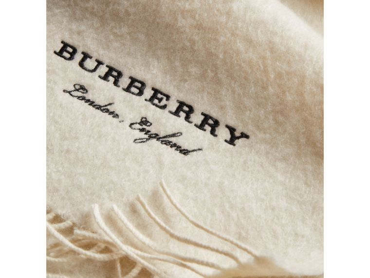 Embroidered Cashmere Fleece Scarf in Ivory | Burberry - cell image 1