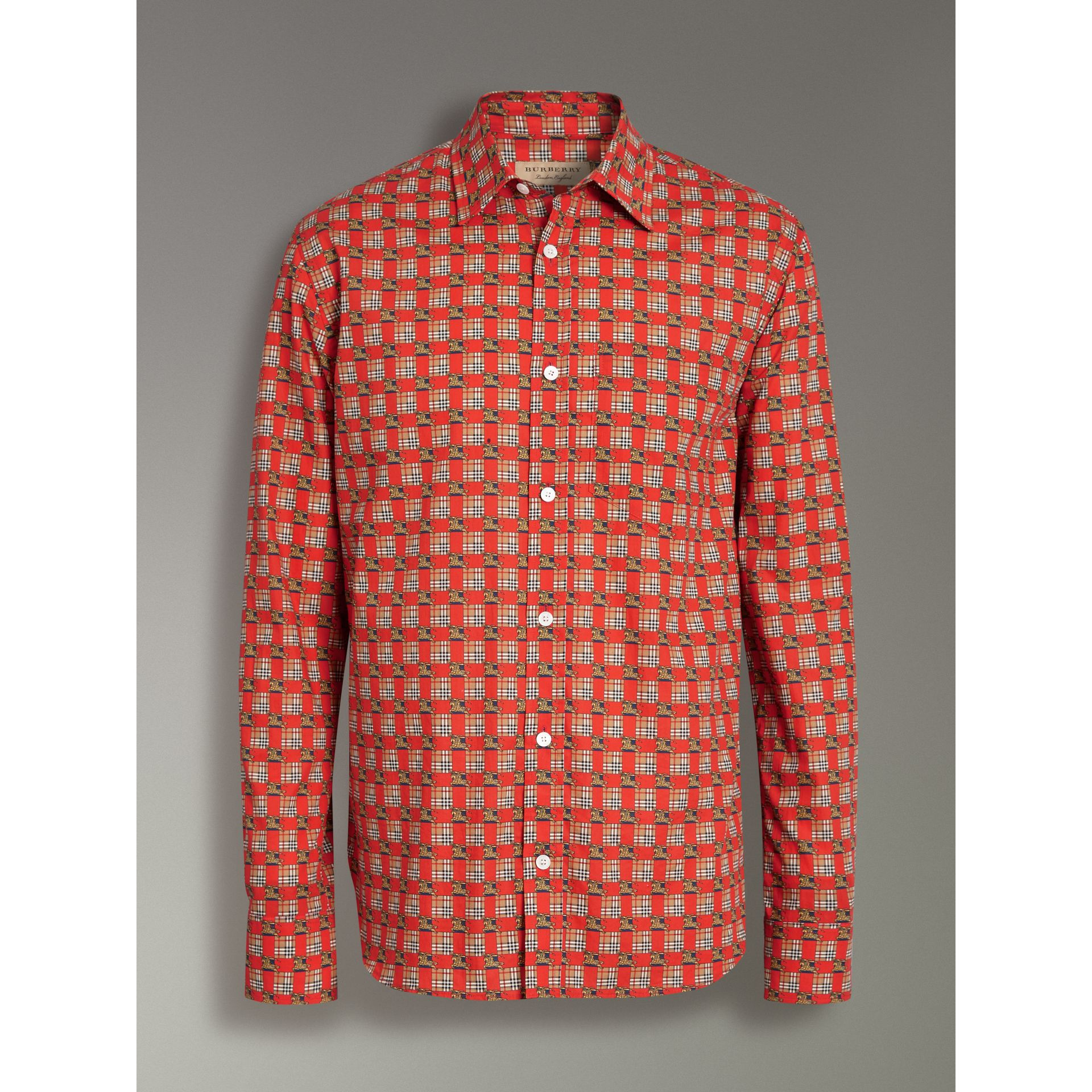 Tiled Archive Print Cotton Shirt in Bright Red - Men | Burberry - gallery image 3