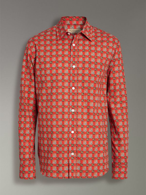 Tiled Archive Print Cotton Shirt in Bright Red - Men | Burberry - cell image 3