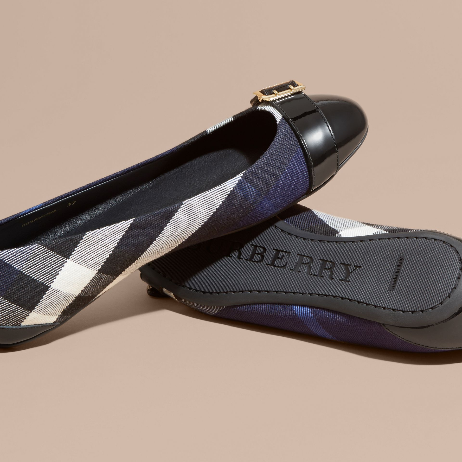 Buckle Detail House Check and Patent Leather Ballerinas Indigo Blue - gallery image 5
