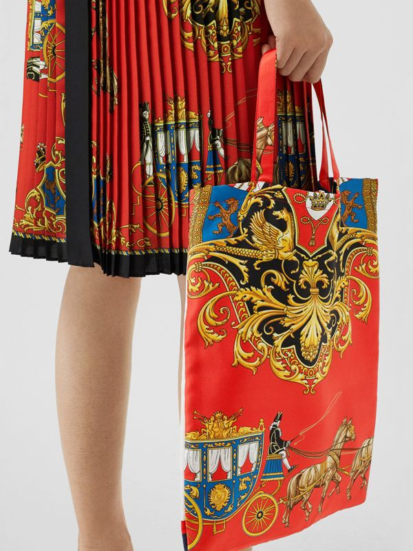 Archive Scarf Print Silk Tote in Bright Red/navy - Women | Burberry Australia - cell image 3