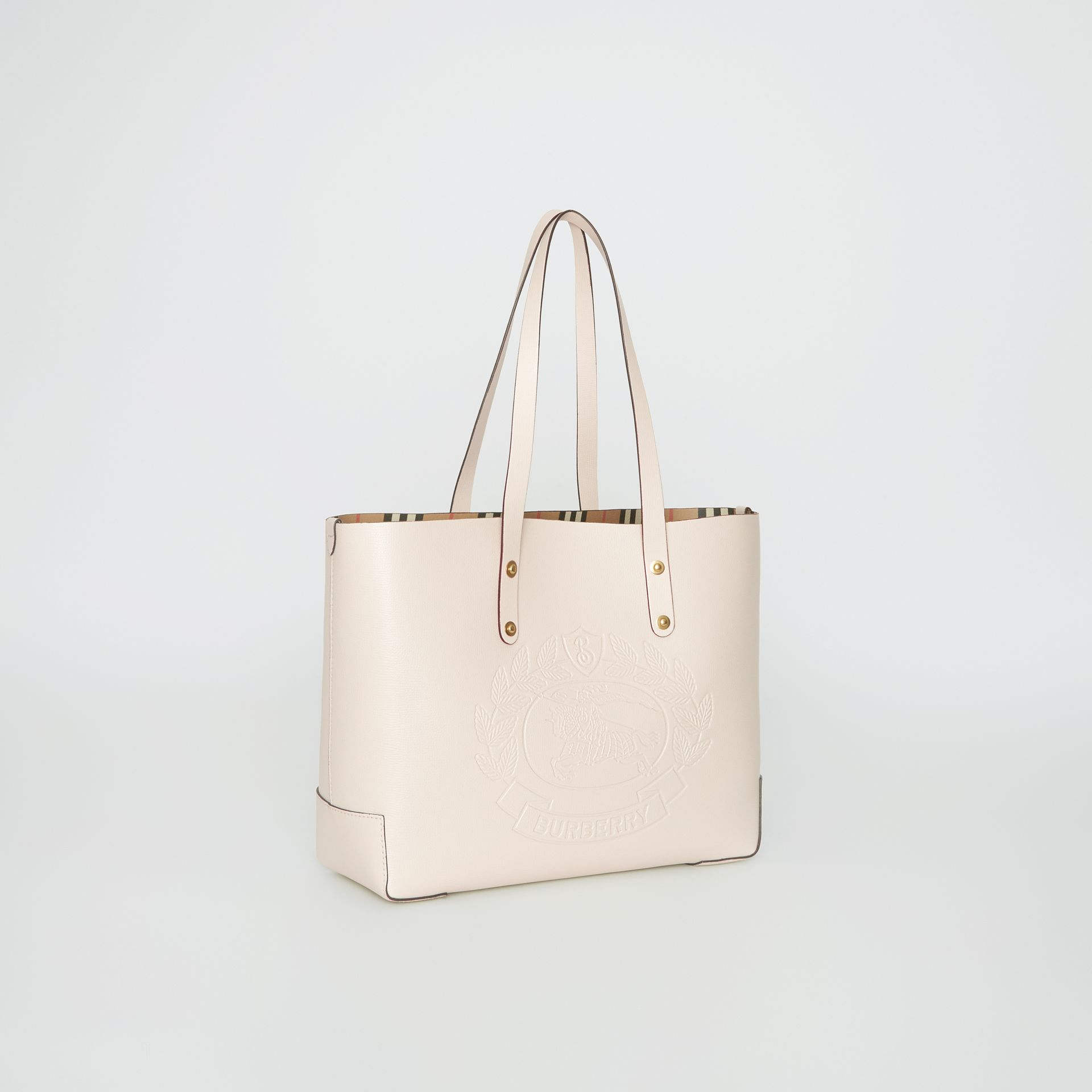 Small Embossed Crest Leather Tote in Limestone | Burberry - gallery image 6