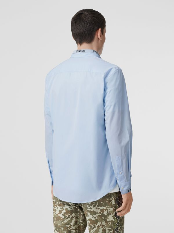 Logo Detail Cotton Poplin Shirt in Pale Blue - Men | Burberry United Kingdom - cell image 2