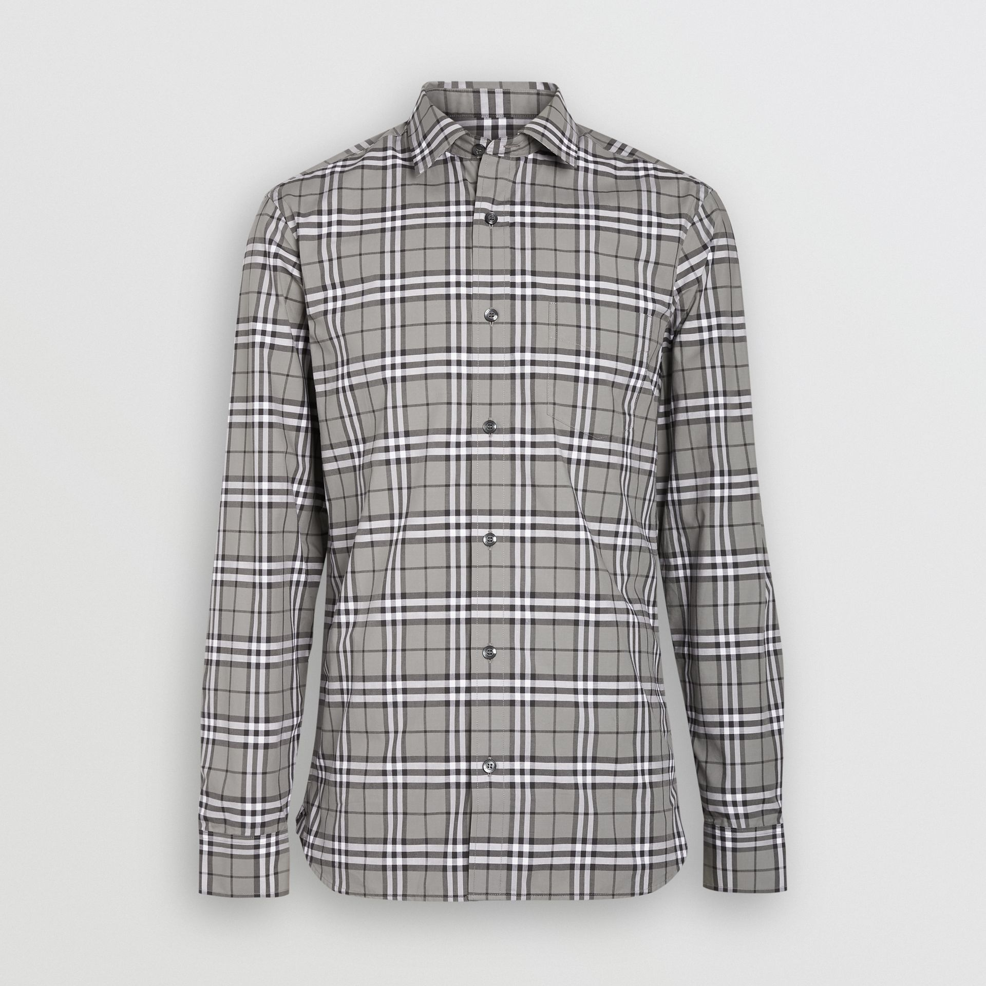 Check Cotton Shirt in Charcoal - Men | Burberry Singapore - gallery image 3