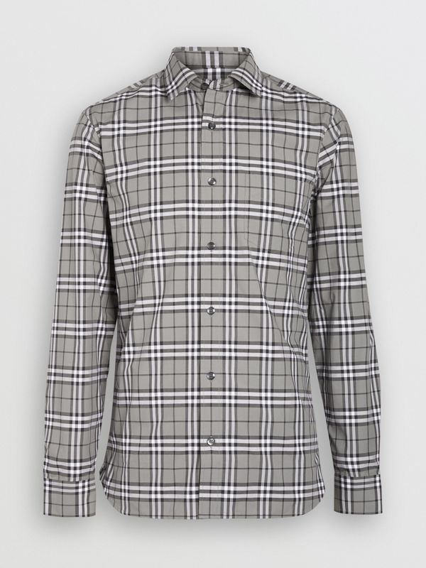 Check Cotton Shirt in Charcoal - Men | Burberry - cell image 3