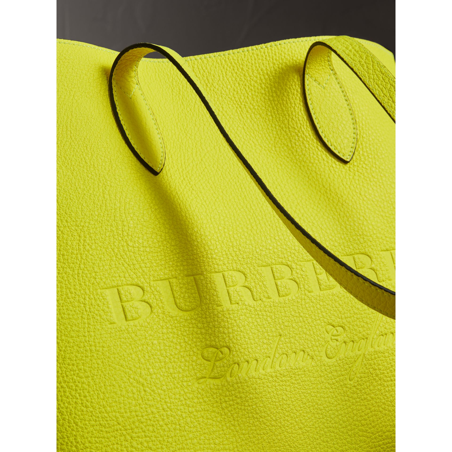 Embossed Leather Tote in Neon Yellow | Burberry - gallery image 1