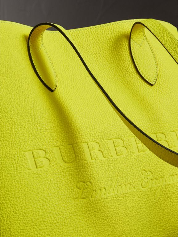 Embossed Leather Tote in Neon Yellow | Burberry - cell image 1