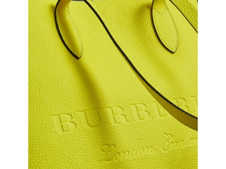 Large Embossed Leather Tote in Neon Yellow | Burberry - cell image 1