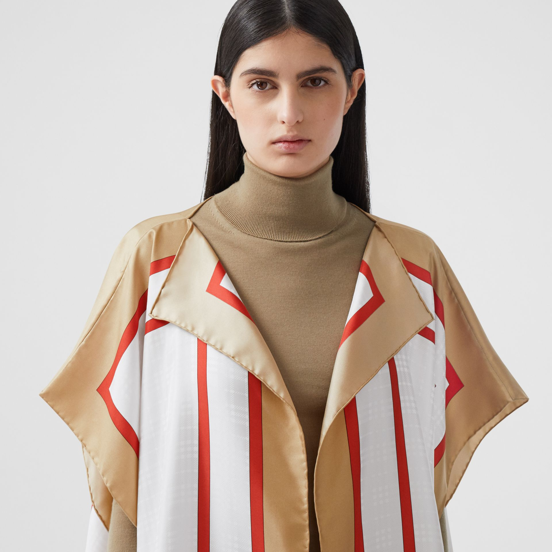 Archive Scarf Print Silk Twill Cape in Honey - Women | Burberry United Kingdom - gallery image 1