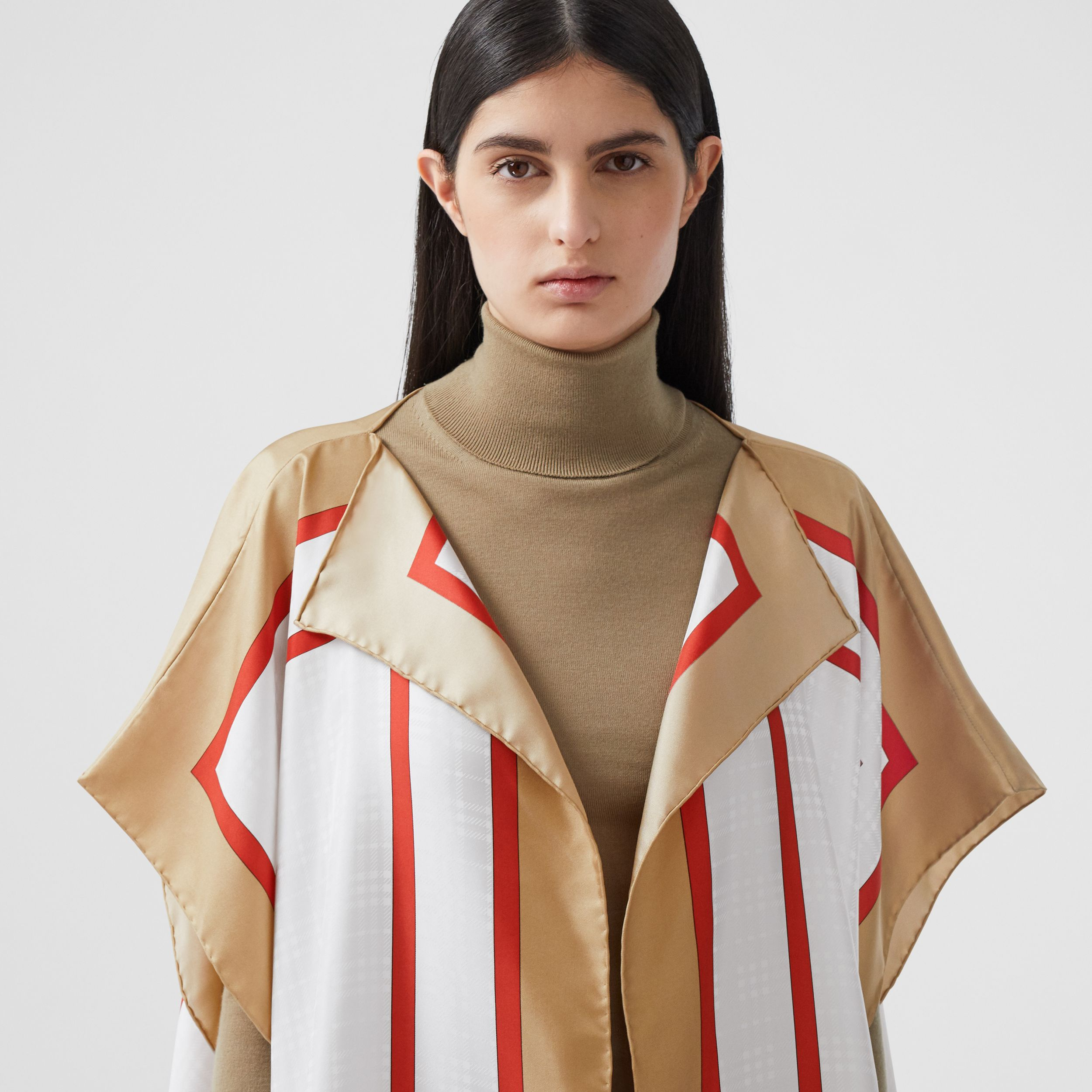 Archive Scarf Print Silk Twill Cape in Honey - Women | Burberry - 2