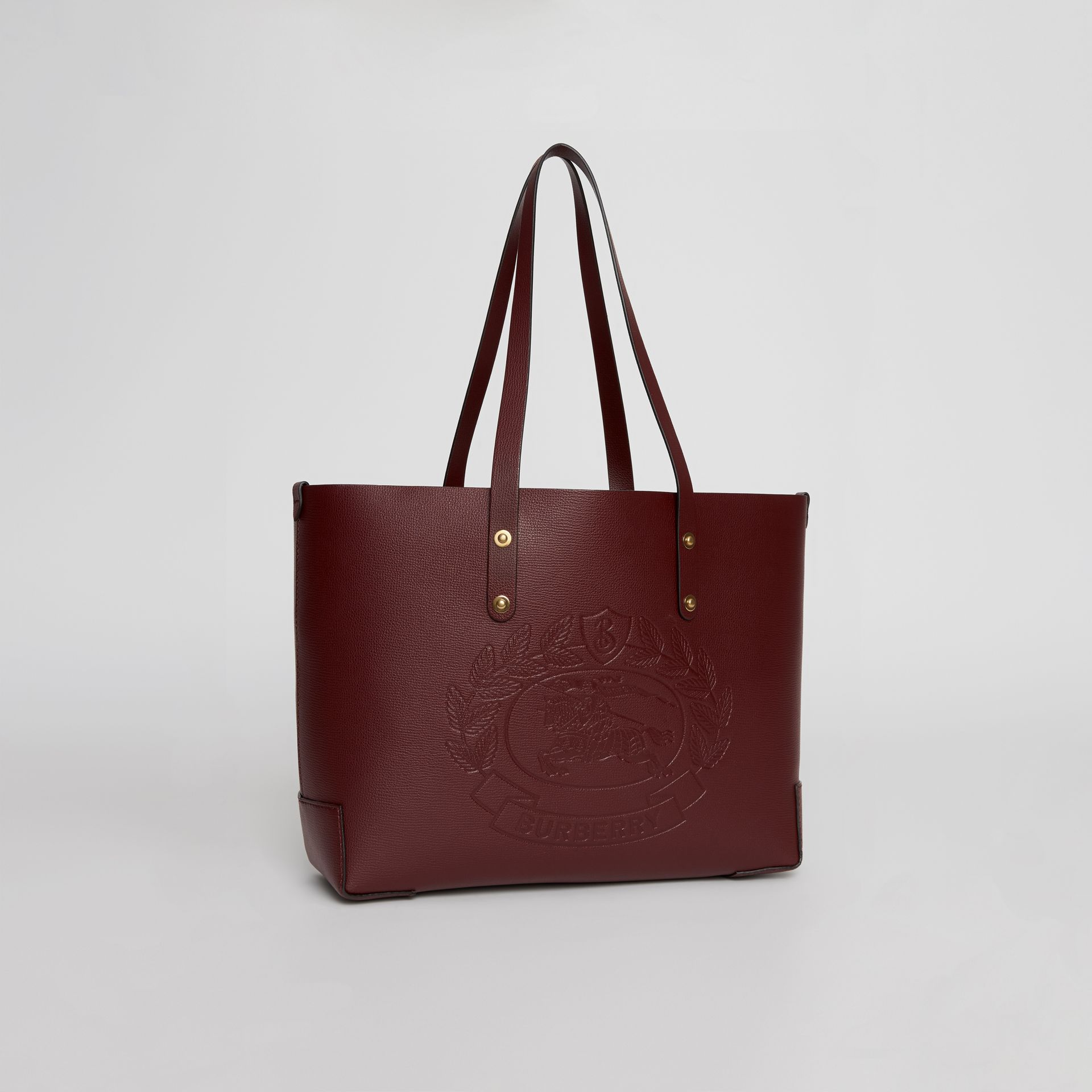 Small Embossed Crest Leather Tote in Burgundy | Burberry - gallery image 4
