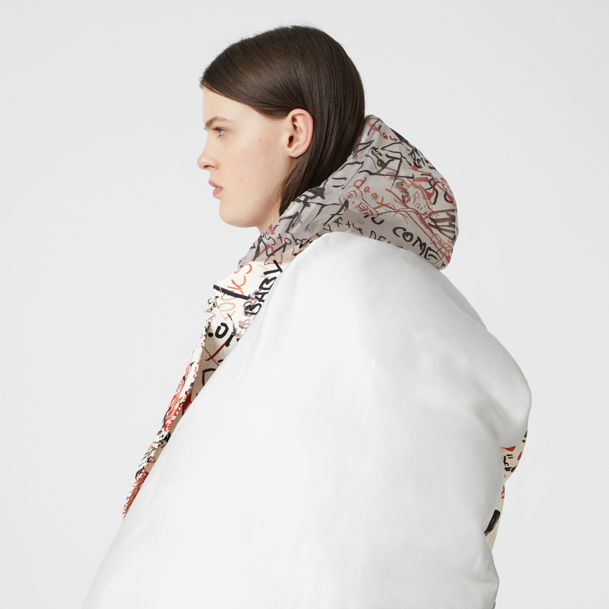 Graffiti Print Silk Satin Oversized Puffer Cape in Natural White - Women | Burberry - 2