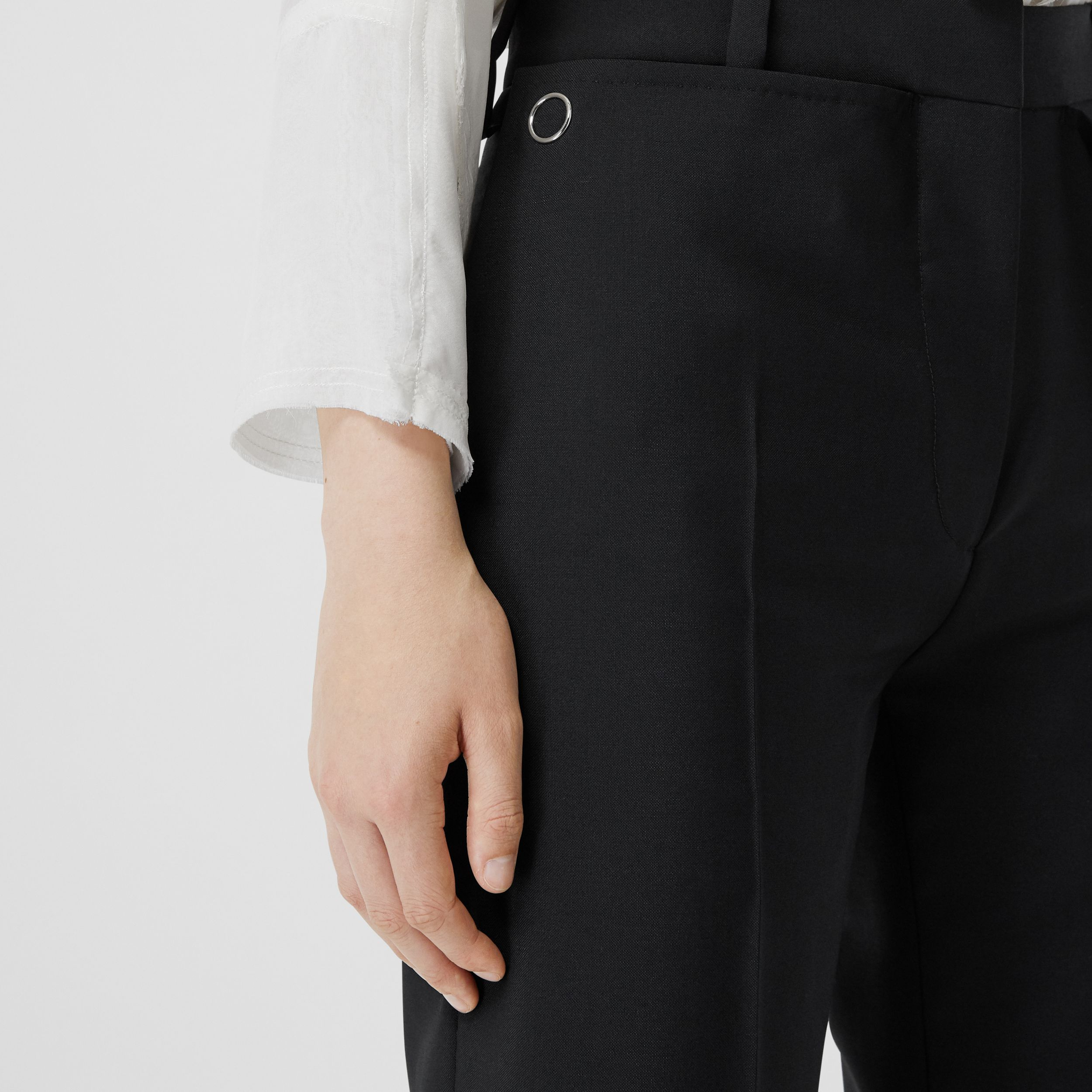 Pocket Detail Wool Mohair Tailored Trousers in Black - Women | Burberry - 2