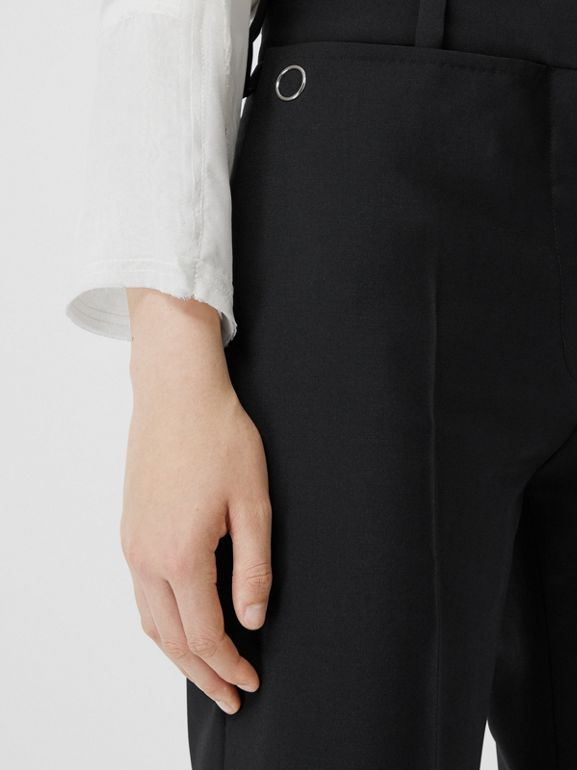 Pocket Detail Wool Mohair Tailored Trousers in Black - Women | Burberry Singapore - cell image 1