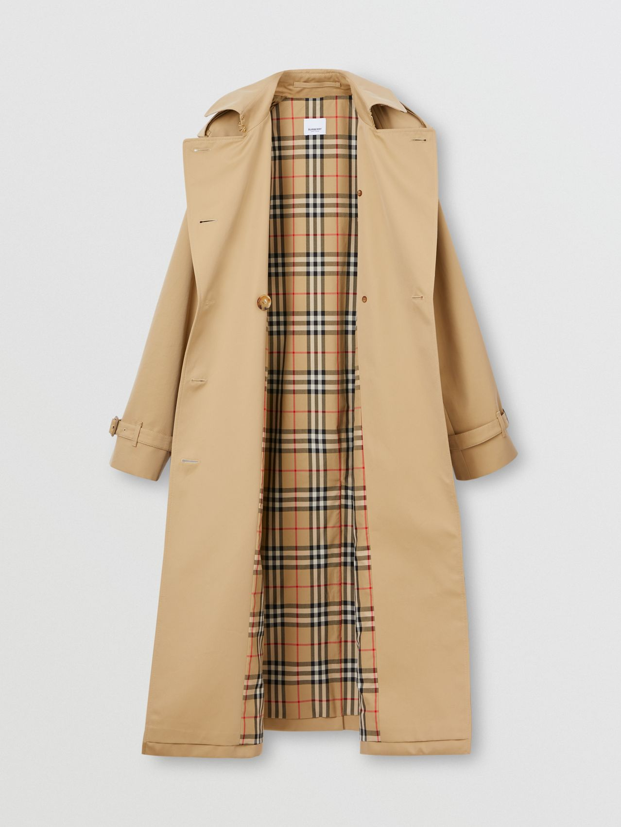 Stripe Detail Cotton Gabardine Trench Coat in Honey