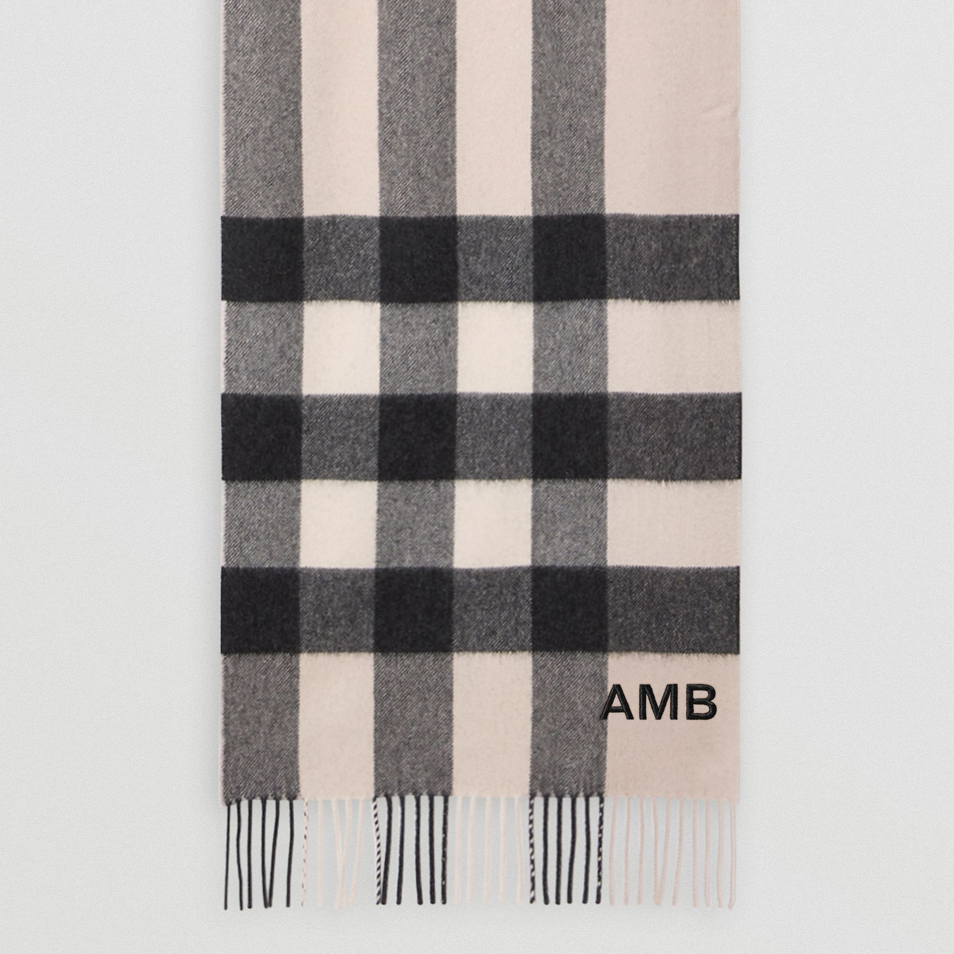 Check Cashmere Scarf in Stone | Burberry United States - gallery image 5
