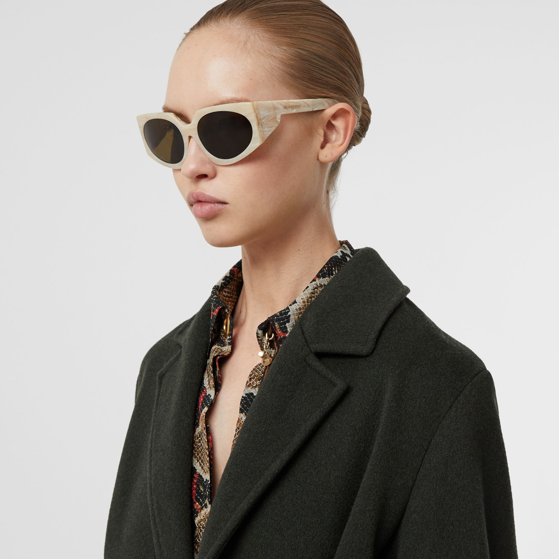 Geometric Frame Sunglasses in Light Horn - Women | Burberry - gallery image 2