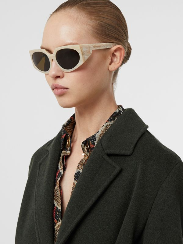 Geometric Frame Sunglasses in Light Horn - Women | Burberry - cell image 2