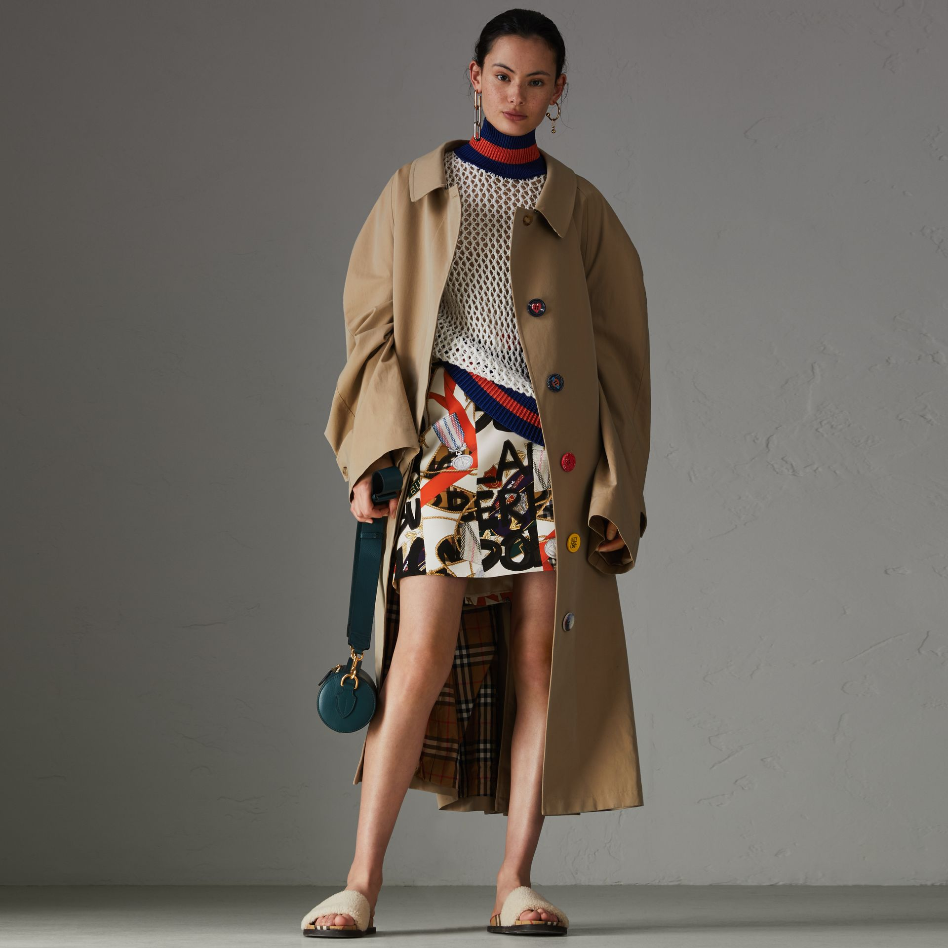 Graffiti Archive Scarf Print Silk Wool Mini Skirt in Stone - Women | Burberry Canada - gallery image 0