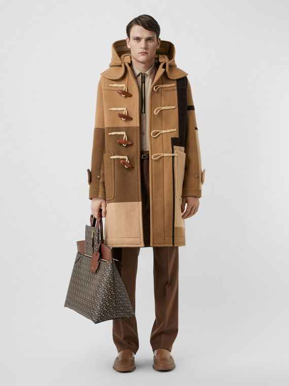 Panelled Wool Duffle Coat in Warm Camel