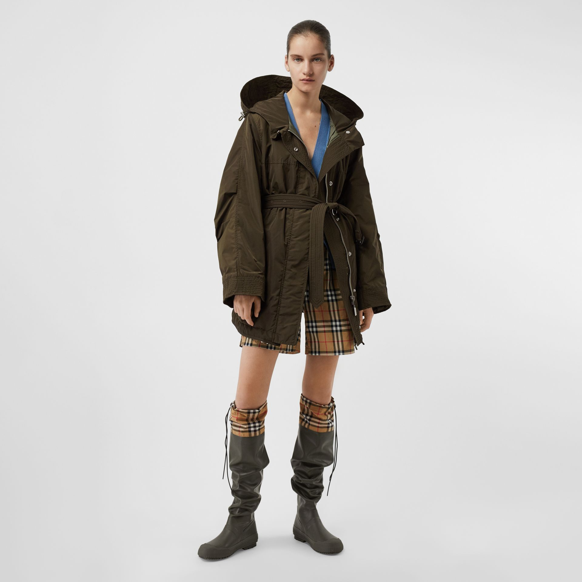 Shape-memory Taffeta Hooded Parka in Dark Olive - Women | Burberry United States - gallery image 0