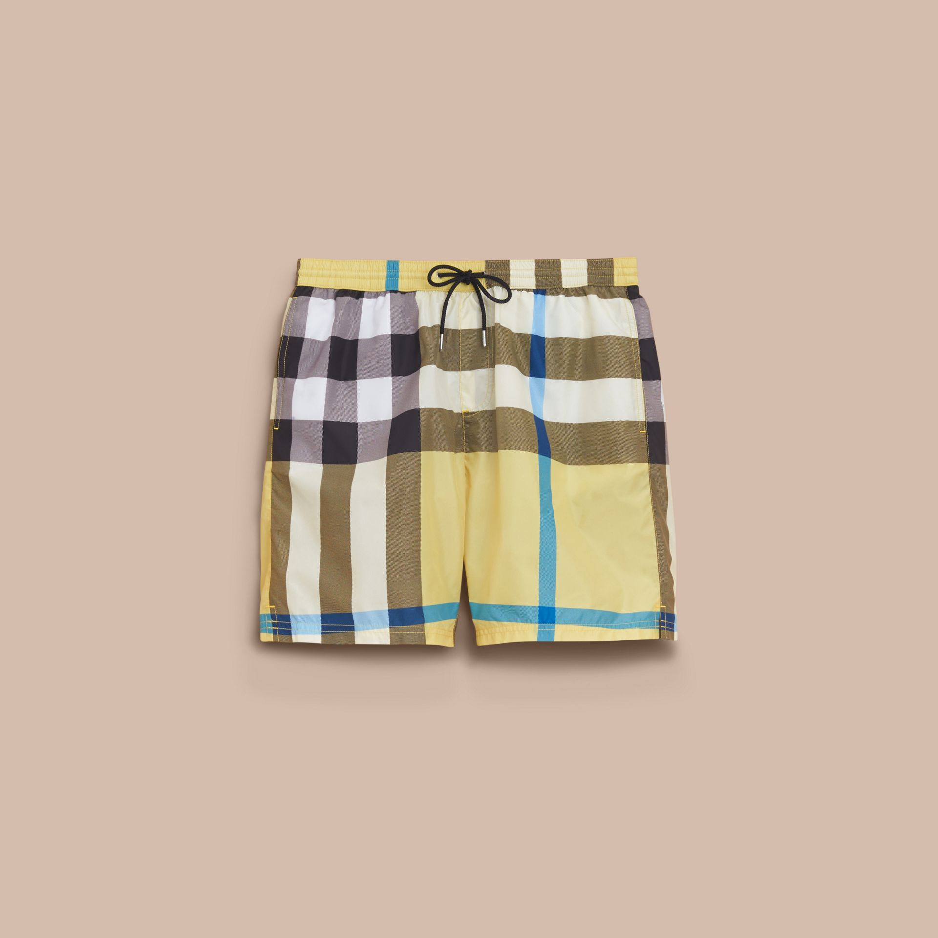 Check Swim Shorts in Pale Yellow - Men | Burberry - gallery image 4
