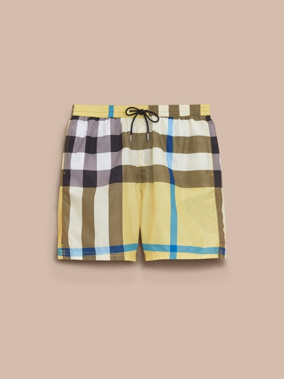 Check Swim Shorts in Pale Yellow - Men | Burberry
