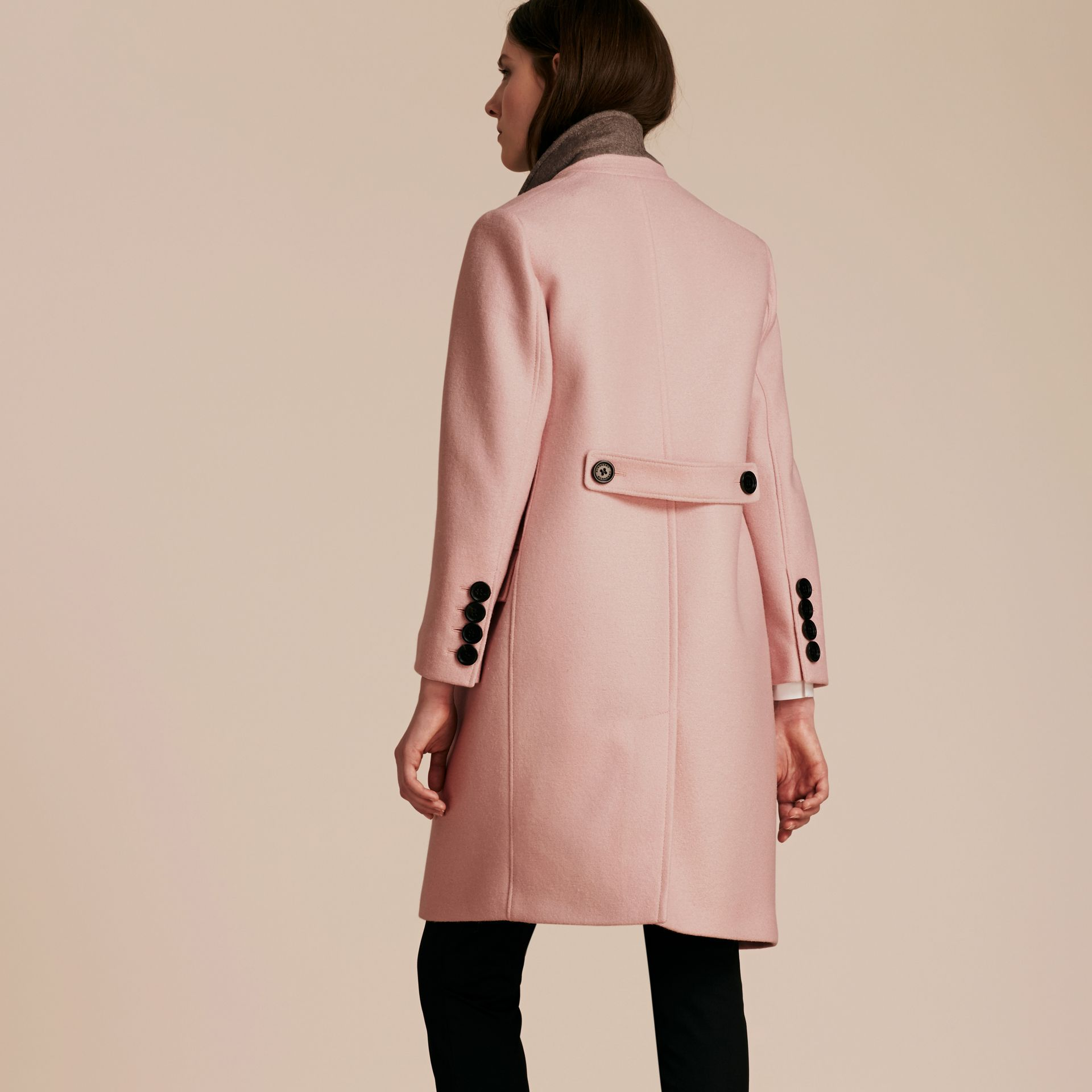 Chalk pink Boiled Wool Tailored Coat - gallery image 3