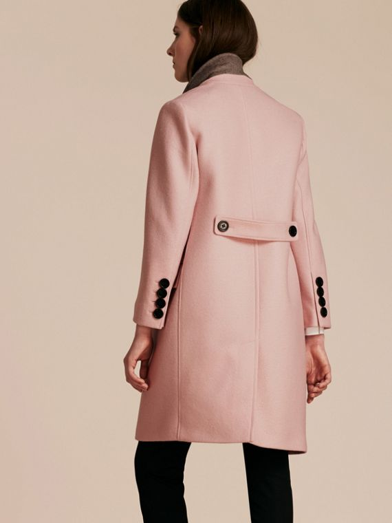 Chalk pink Boiled Wool Tailored Coat - cell image 2