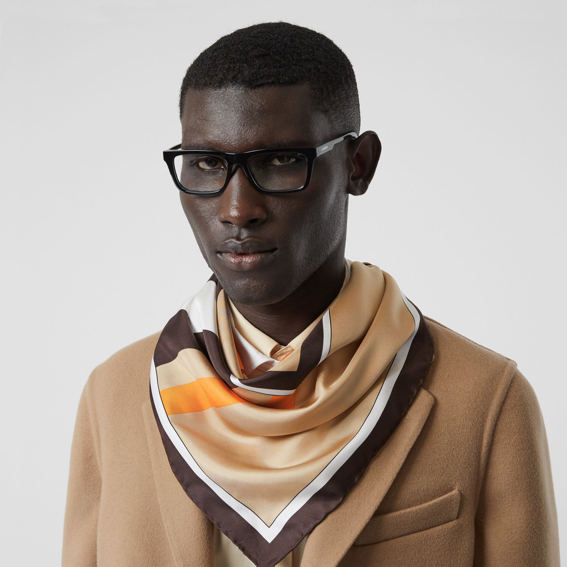 Monogram and Icon Stripe Print Silk Square Scarf in Archive Beige | Burberry Australia - gallery image 3