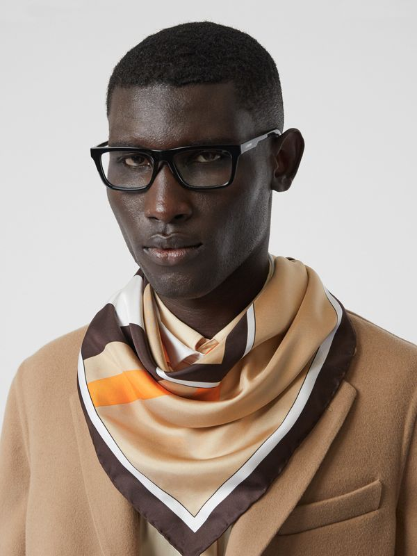 Monogram and Icon Stripe Print Silk Square Scarf in Archive Beige | Burberry Australia - cell image 3