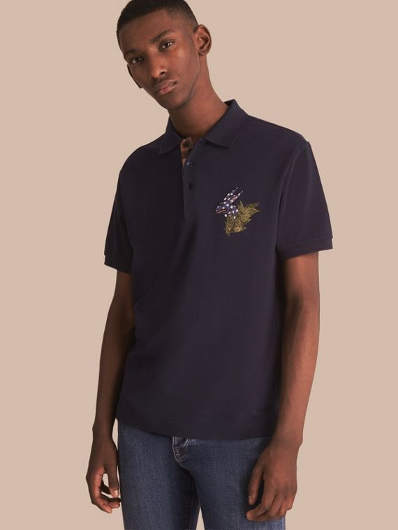 Beasts Motif Cotton Piqué Polo Shirt in Dark Navy