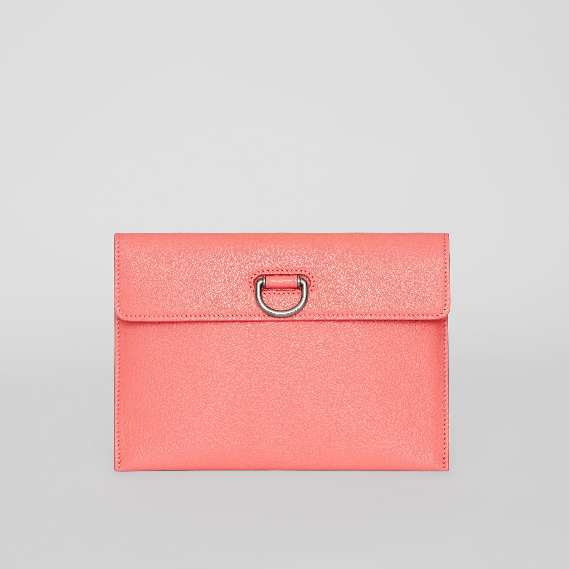 D-ring Leather Pouch with Zip Coin Case in Bright Coral Pink - Women | Burberry - gallery image 0