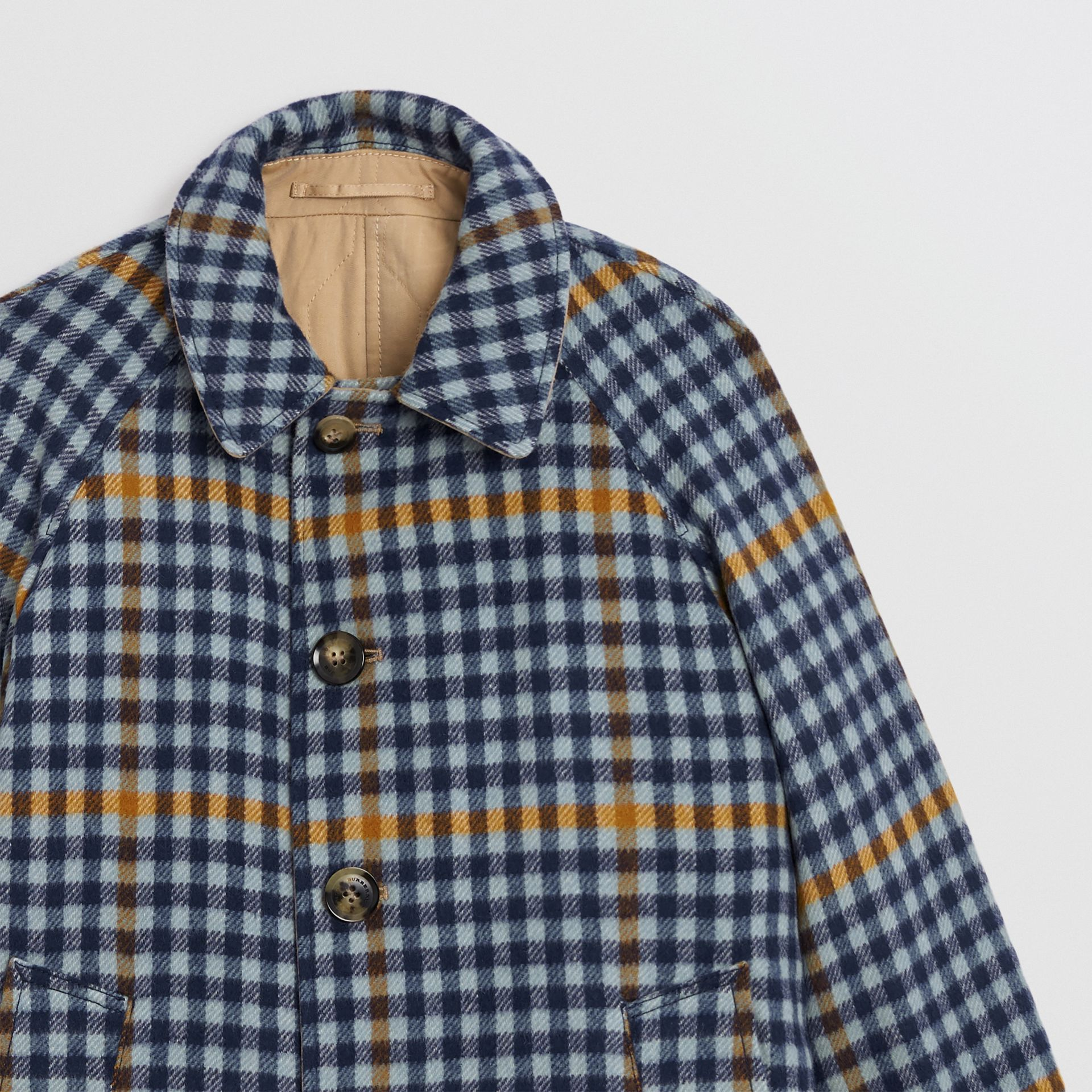 Reversible Check Wool and Cotton Car Coat in Canvas Blue | Burberry - gallery image 6